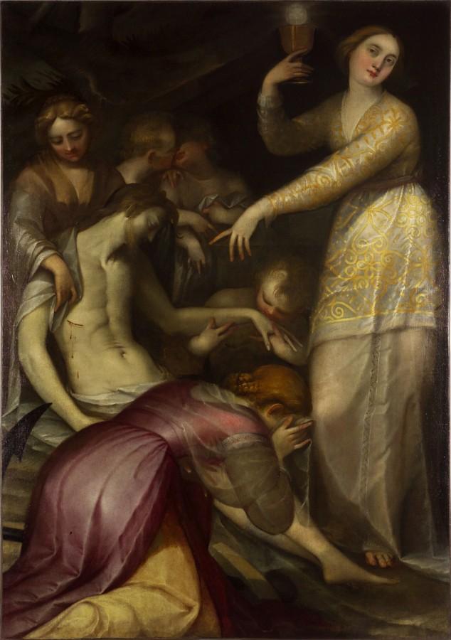 La Foi, l'Espérance et la Charité déplorant le Christ mort, Gregorio Pagani, fin du 16e siècle
