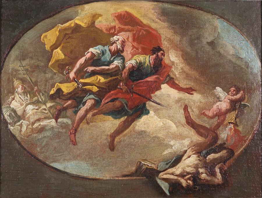 Saint Pierre et saint Paul poursuivant l'hérésie, Gaspare Diziani, autour de 1760