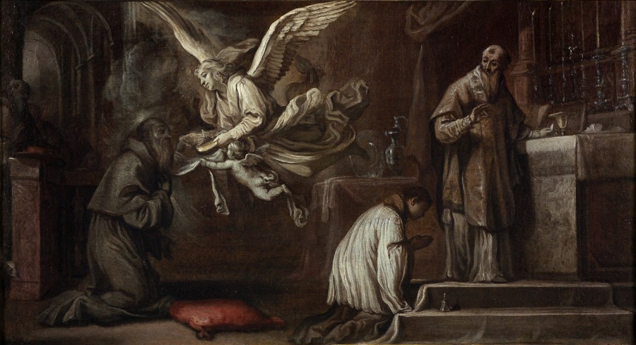 Saint Bonaventure recevant la communion des mains d'un ange, première moitié du 18e siècle
