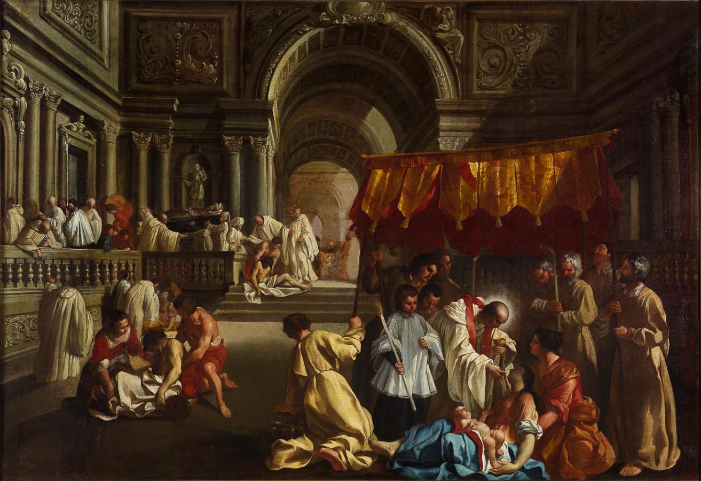 B. Tolomei donnant la communion aux malades de la peste, 17e siècle