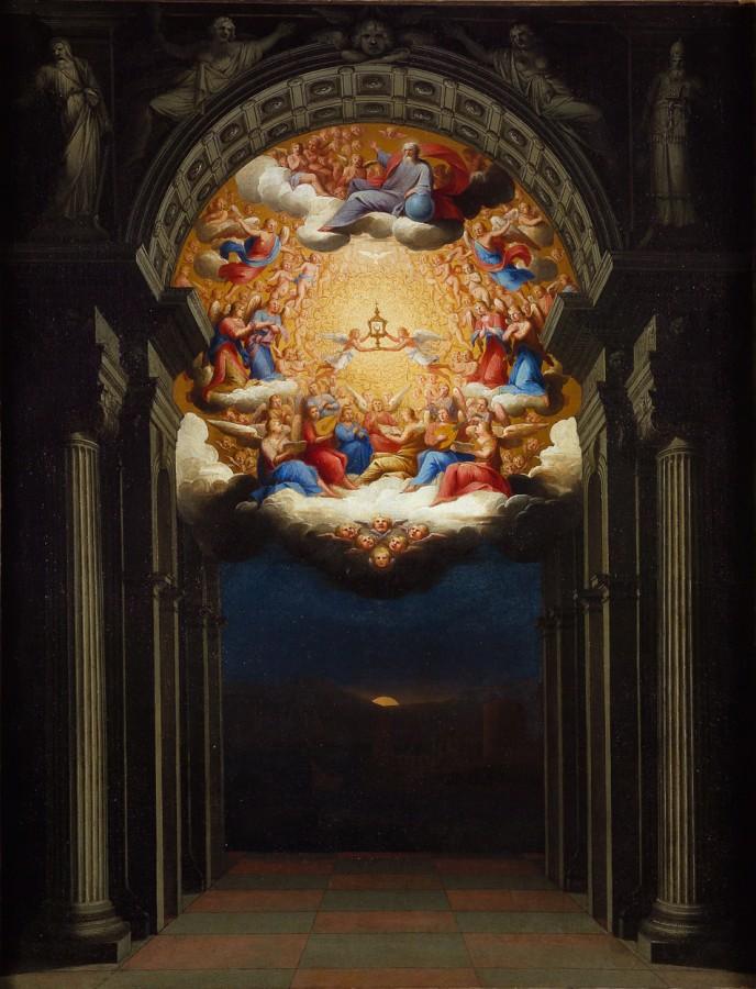 Le triomphe de l'Eucharistie au-dessus d'un port au soleil levant, 17e siècle