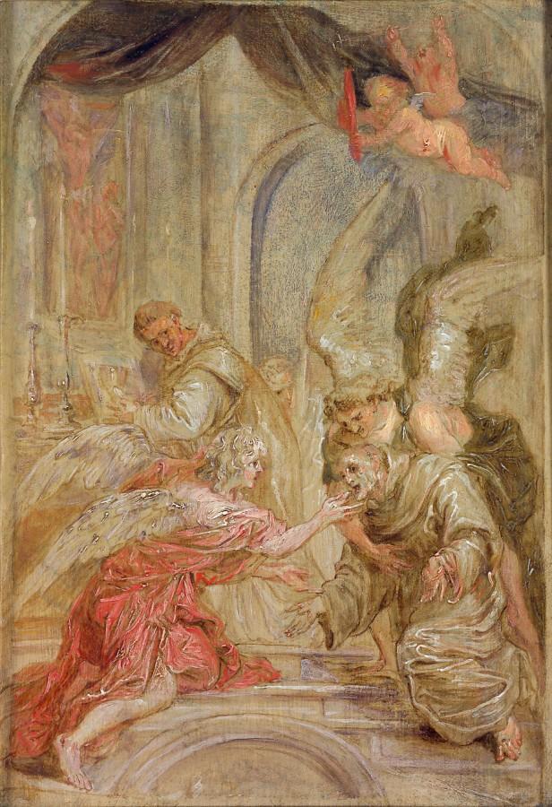 Saint Bonaventure recevant la communion des mains d'un ange, A. van Diepenbeeck d'après Van Dyck, vers 1660
