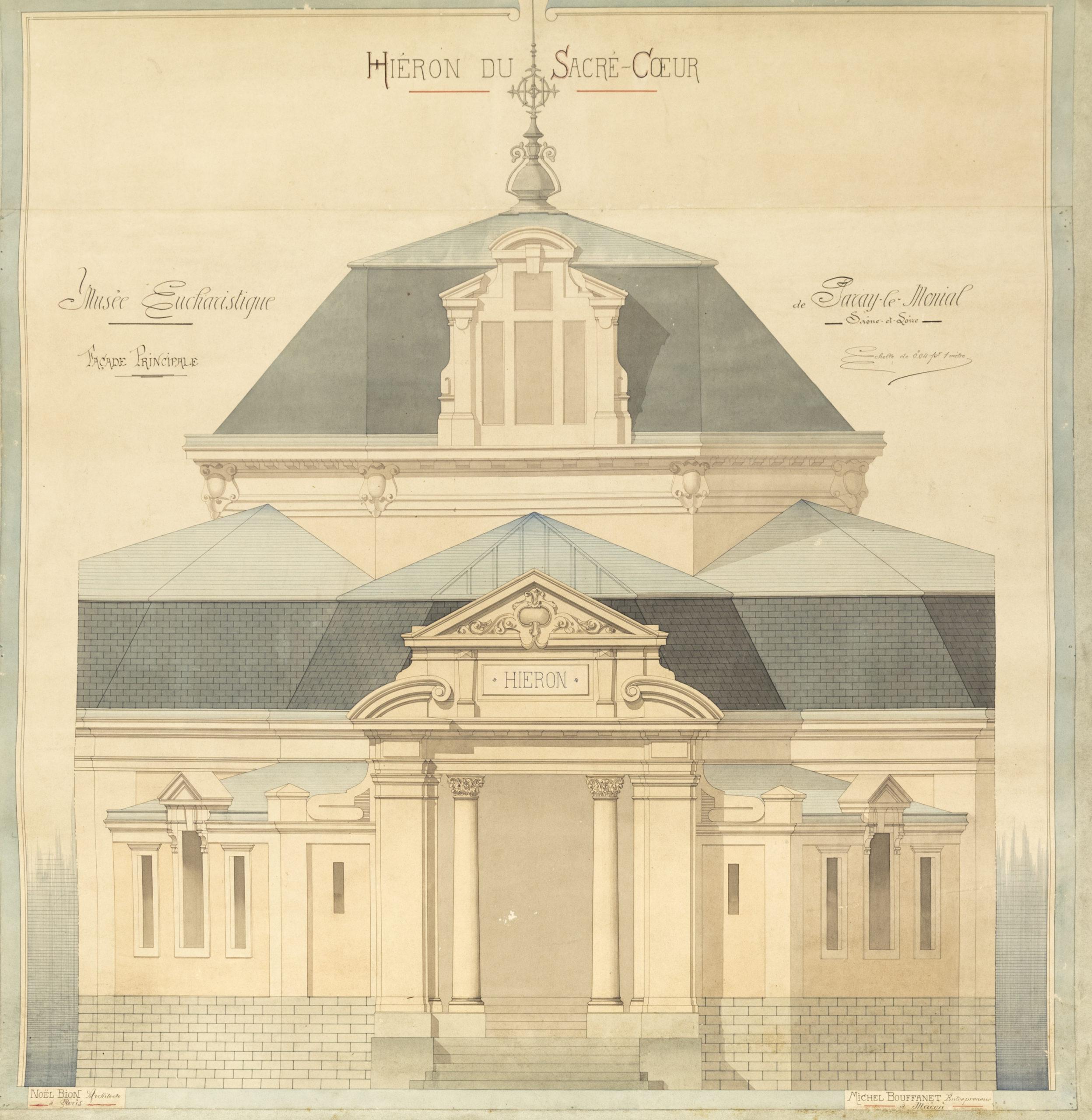 Le Hiéron, plan architectural de Noël Bion, vers 1889