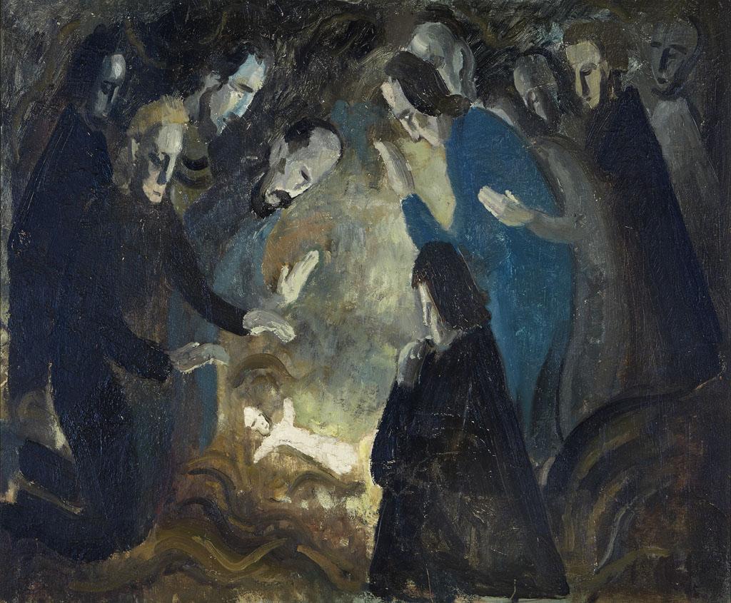 """""""Nativité"""", Henri Vincenot, vers 1952-53, huile sur isorel"""