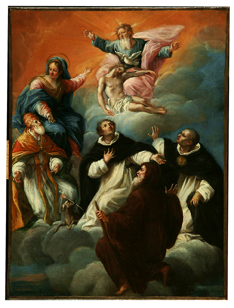 La Vierge désignant la Trinité au pape Pie V, à saint Dominique, saint Thomas d'Aquin et saint François de Paule, 17e siècle