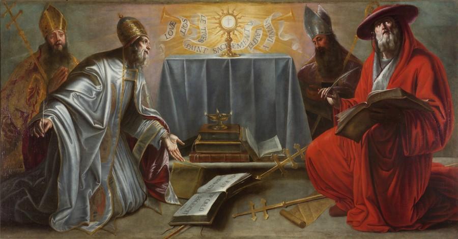 Les docteurs de l'Eglise adorant le Saint-Sacrement, 17e siècle