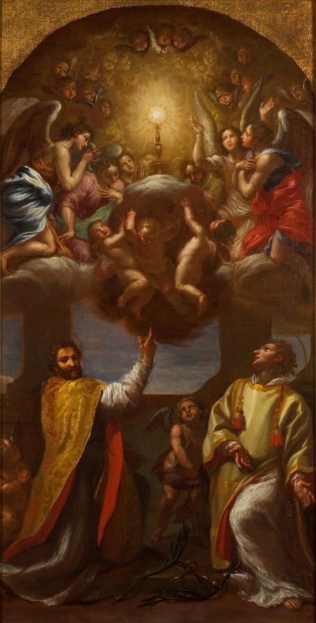 Saint Etienne et saint Paul adorant le Saint Sacrement, 18e siècle