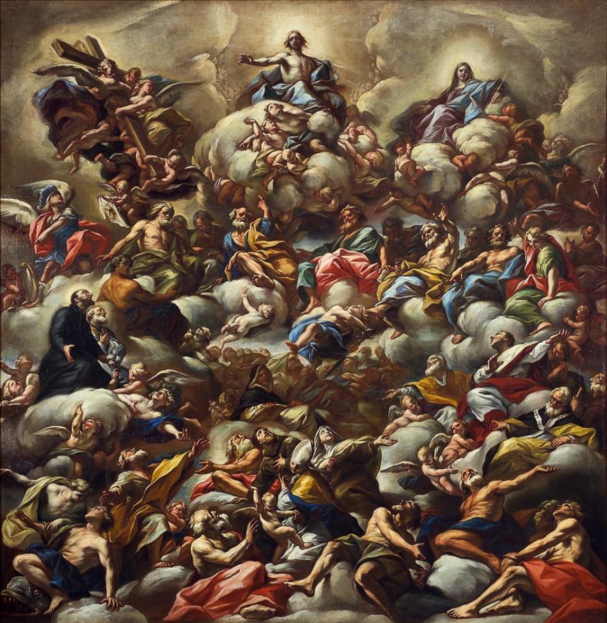 Le Christ en gloire entouré de saints, Giovanni Battista Beinaschi, 17e siècle